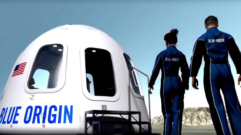 Blue Origin spacecraft with tourists