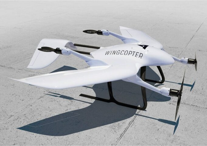 A fully automated white Wingcopter drone