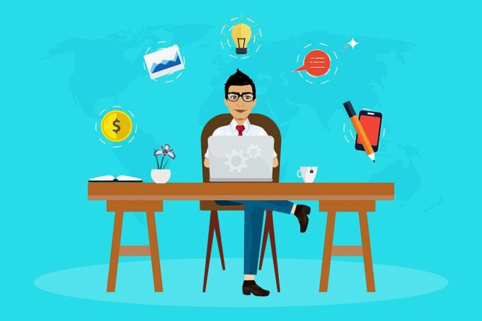 A picture of a sitting freelancer and pop ups of various images