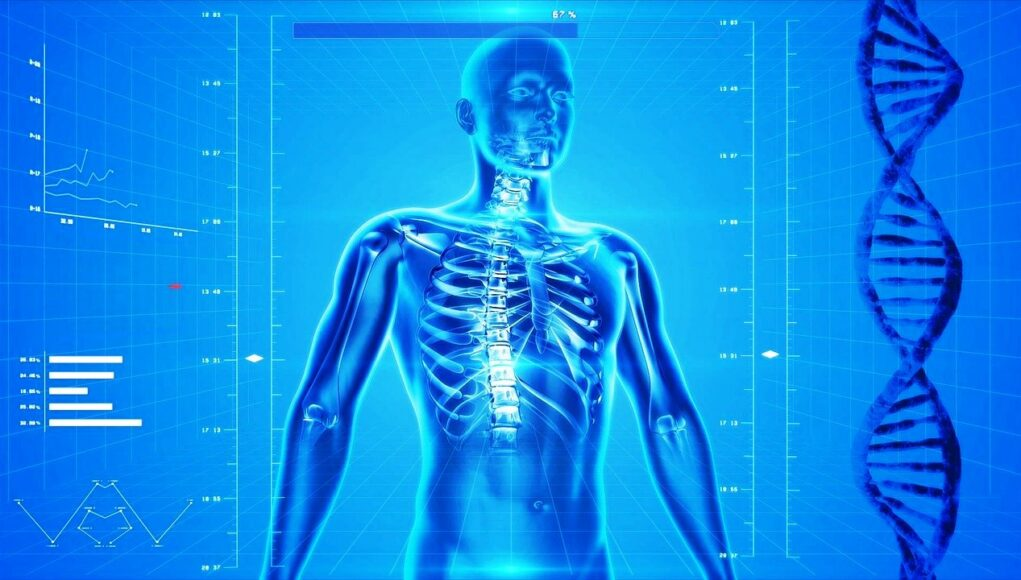 Image of a human animation undergoing scientific biohacking
