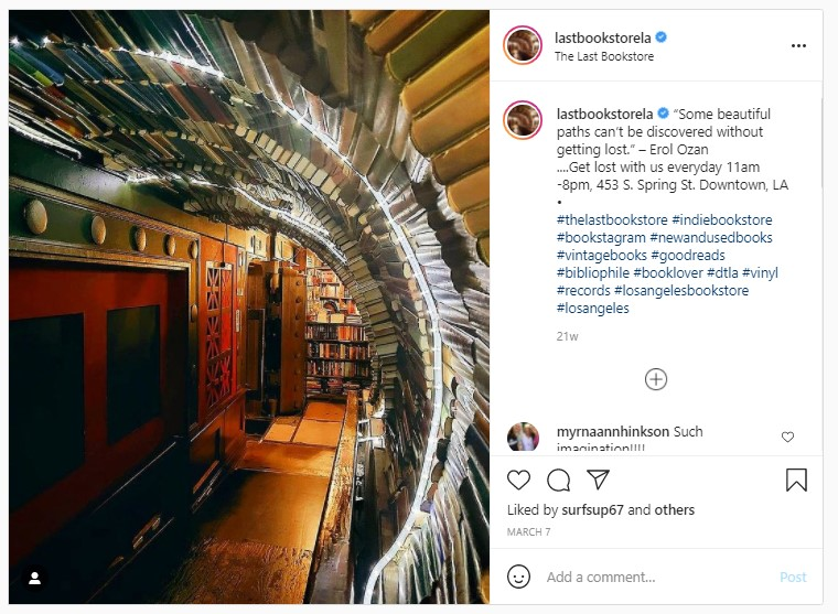 Screenshot from Last Bookstore's Instagram Page