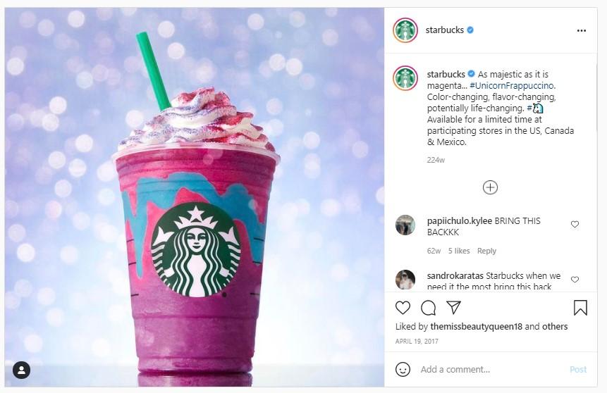 Screenshot from Starbucks's Instagram Page